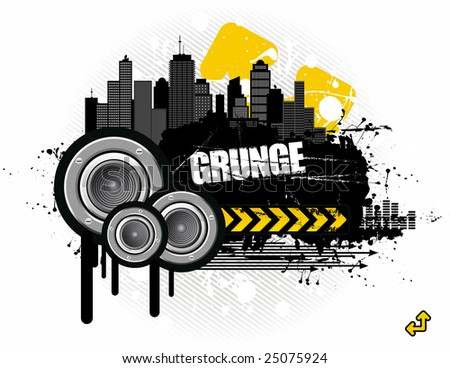 vector illustration - grungy urban audioscape