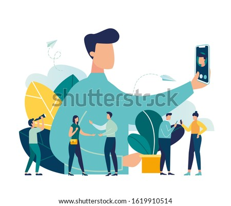 Vector illustration, guy takes a photo of himself, concept of friendship and youth