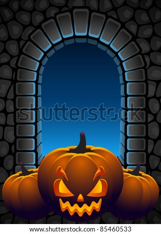 Vector illustration - Halloween background with Jack O'Lantern