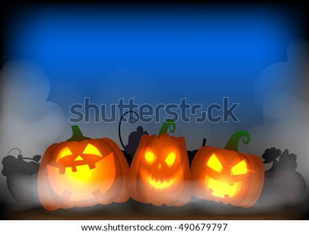 vector illustration halloween poster with pumpkin in night background and fog around #490679797