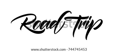 Vector illustration.  Hand drawn brush lettering of Road Trip isolated on white background.