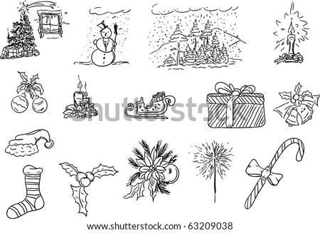 vector illustration - hand drawn christmas set