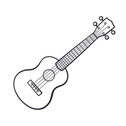 Vector illustration. Hand drawn doodle of classical guitar. String plucked musical instrument. Small acoustic guitar or ukulele. Blues or rock equipment. Cartoon sketch. Isolated on white background