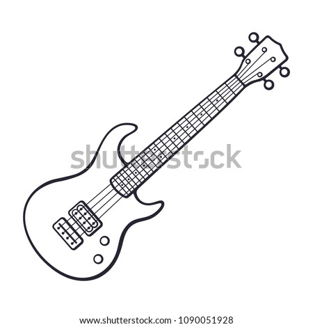 Vector illustration. Hand drawn doodle of classical rock electro or bass guitar. String plucked musical instrument. Rock, blues, ska or jazz equipment. Cartoon sketch. Isolated on white background