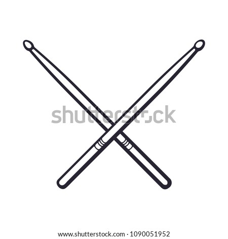 Vector illustration. Hand drawn doodle of crossed drumsticks. Percussion musical instrument. Rock or jazz equipment. Cartoon sketch. Isolated on white background