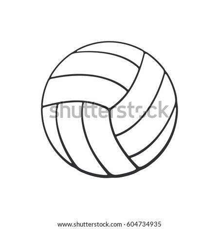 Vector illustration. Hand drawn doodle of leather volleyball ball. Sports equipment. Cartoon sketch. Decoration for greeting cards, posters, emblems, wallpapers