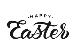 Vector illustration. Hand drawn elegant modern brush lettering of Happy Easter isolated on white background.