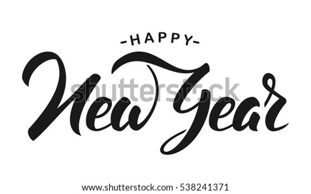 hand drawn elegant modern brush lettering of happy new year isolated on white