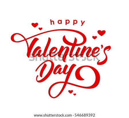 Vector illustration. Hand drawn elegant modern brush lettering of Happy Valentines Day with hearts isolated on white background. #546689392