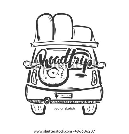 Vector illustration: Hand drawn emblem with travel car and handwritten lettering of Road Trip. Sketch line design.