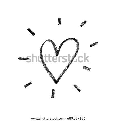 Vector illustration, hand drawn heart. Charcoal heart.