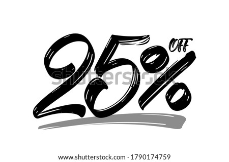 Vector illustration: Hand drawn numbers of 25% OFF. Special offer  discount. Black Friday Sale. Foto stock ©