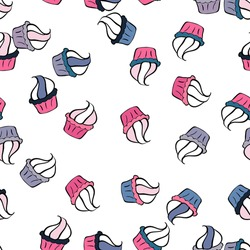 Vector illustration. Hand drawn outlined colorful seamless pattern with cupcakes, cute background on black, white and pink. Sweets design.