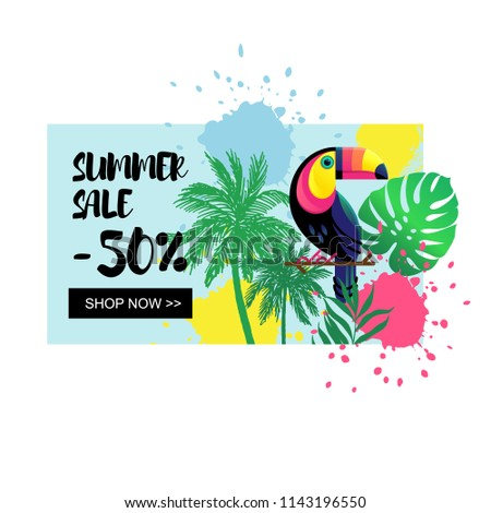 Vector illustration, hand drawn palm tree and paint background. Tropical nature design elements. Summer sale banner.