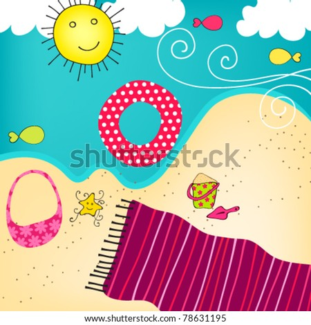 Vector illustration hand drawn style of cute summer seashore