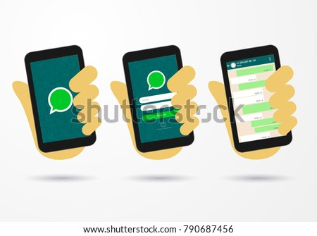 vector illustration hand hold smart phone social messenger icon login screen with name and password check and chat function