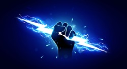 Vector Illustration Hand Holding Powerful Electric Lightning.