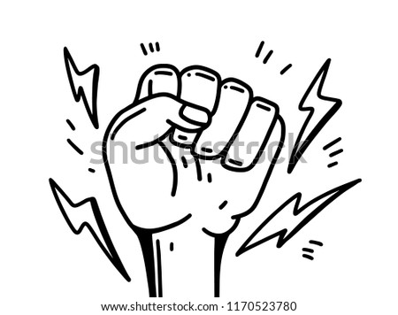 Vector illustration. Hand human illustration. Feminism movement, LGBT Society, girl power, female future protest. Isolated on white background.