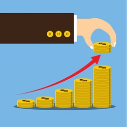 Vector illustration, Hand putting coin stack growth financial, save money and investment concept