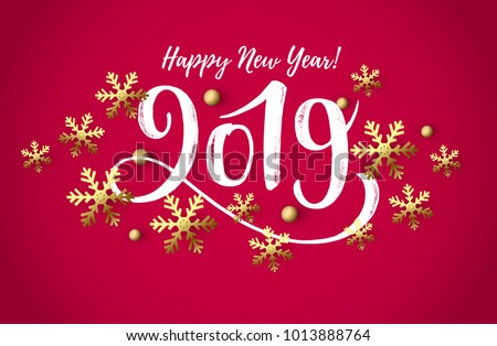 vector illustration 2019 hand written lettering happy new year card design element