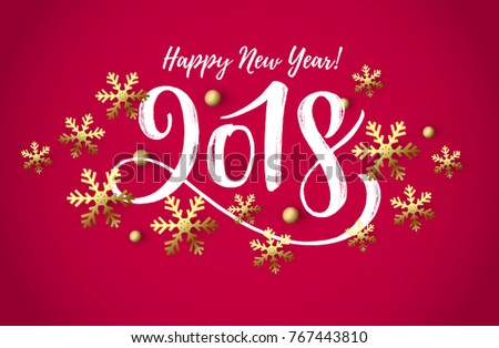 Vector illustration, 2018 hand written lettering. Happy New Year card design element