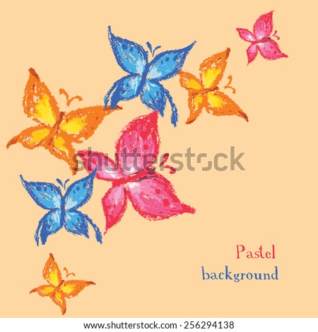 Vector illustration handmade drawing pastel chalks butterfly background
