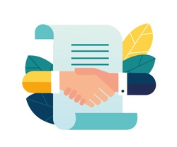Vector illustration, handshake, conclusion of a contract, successful partnership, cooperation