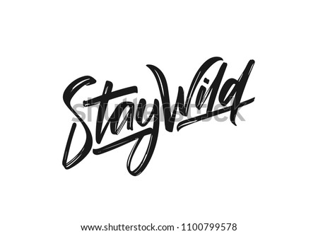 Vector illustration: Handwritten calligraphic lettering of Stay Wild