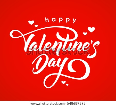 Vector illustration. Handwritten elegant modern brush lettering of Happy Valentines Day with hearts isolated on red background. #548689393