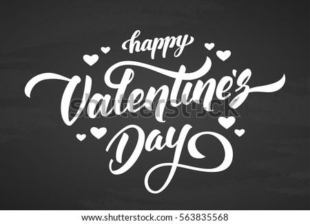 Vector illustration. Handwritten elegant modern brush lettering of Happy Valentines Day with hearts on chalkboard background.