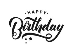 Vector illustration: Handwritten modern brush lettering of Happy Birthday on white background. Typography design. Greetings card.