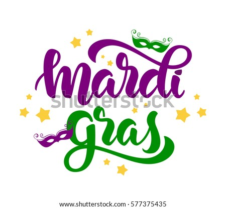 Vector illustration: Handwritten modern brush lettering of Mardi Gras with masks and stars on white background