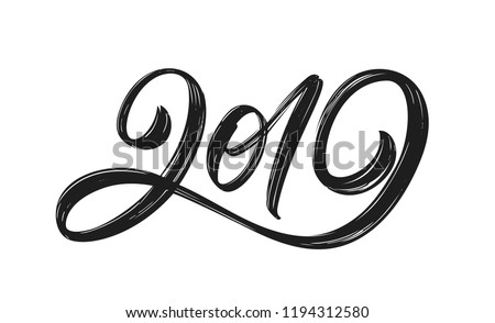 Vector illustration: Handwritten textured brush lettering of 2019 on white background. Chines calligraphy