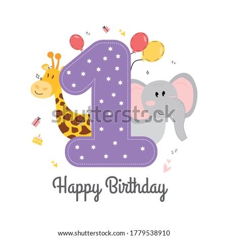Vector illustration happy birthday card with number one, animals elephant and giraffe, gifts, balloons, cake, hearts. Greeting card with the words Happy Birthday Stock photo ©