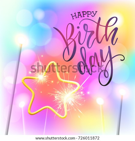 Vector illustration.Happy Birthday To You typography vector design for greeting cards and poster with Bengal lights star. Happy Birthday design template for birthday celebration.