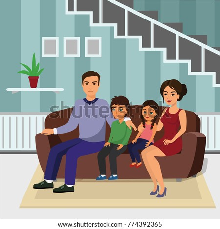 Vector illustration happy family in living room sitting on the sofa. Father, mother, son and daughter together sitting on the sofa in flat cartoon style.