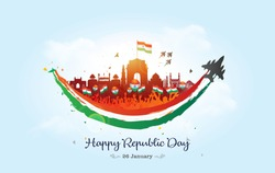 Vector illustration Happy republic day of India and Indian Army tricolor fighter jet parade at India gate with smile on 26 January