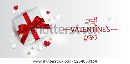 Vector illustration. Happy Valentines Day typography vector design for greeting cards and poster. Valentines Day text with gift box, pearls, paper Valentines. Design template celebration.
