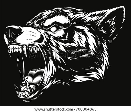 Vector illustration head ferocious wolf outline silhouette on a black background