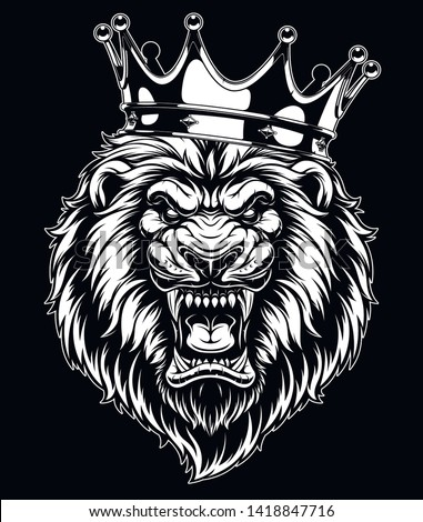 Vector illustration, head of a ferocious lion wearing a crown, on a black background. Stock photo ©