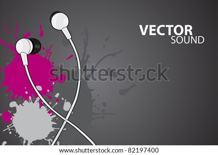 Vector illustration (headphones on gray background)