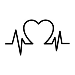 Vector Illustration Heart pulse monitor with signal. Heart beat. Icon ekg. Isolated on blank background. Editable and changeable color.