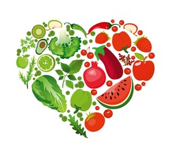 Vector illustration heart shape of red fruits and vegetables. Healthy nutrition organic concept in flat style.