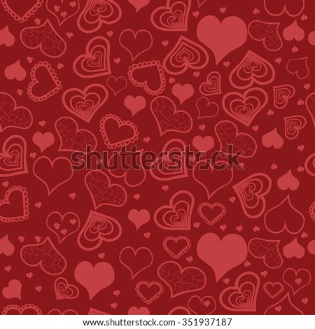 Vector illustration. Hearts seamless. Holiday background.