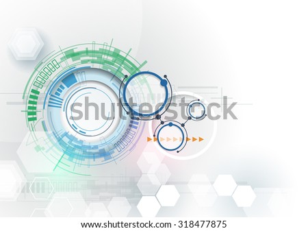 Vector illustration Hi-tech digital technology engineering. Integration and innovation technology concept. Abstract futuristic on light color background for design template, business tech presentation