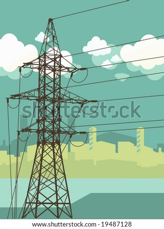 Vector illustration.  High-voltage tower silhouette on the urban background