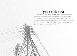 Vector illustration. High Voltage transmission systems. A network of interconnected electrical in all areas. Symbols, steps for successful business planning Suit. presentation, and advertisement.