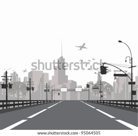 Vector illustration. - Highway leads to city .City skyline