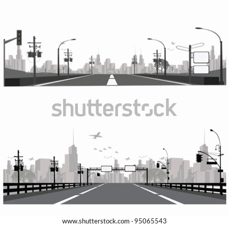 Vector illustration.Highway silhouette .City skyline