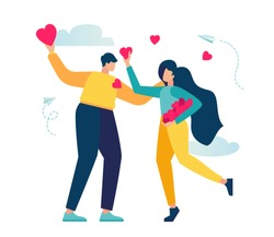 vector illustration, holiday Valentine's Day, communication and acquaintance, couple in love and hearts